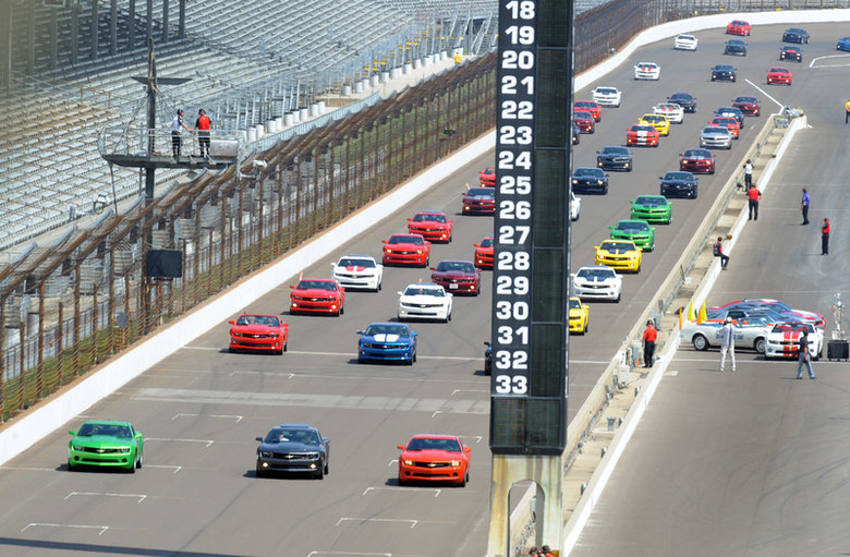 Camaro Day at IMS-rolling-out-courtesy-indpls-star-news-jpg