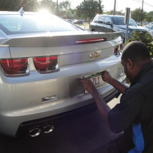 City Chevrolet, Charlotte NC getting new plates on car!